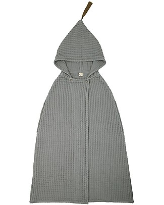 Numero 74 Poncho Towel, Silver Grey - 3-5 Years - 100% organic cotton waffle Towels And Flannels