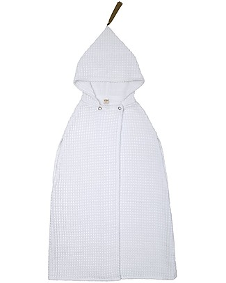 Numero 74 Poncho Towel, White - 6-8 Years - 100% organic cotton waffle null