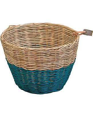 Numero 74 Rattan Storage Basket - Teal Blue - Stylishly Safe Toy Storage Boxes