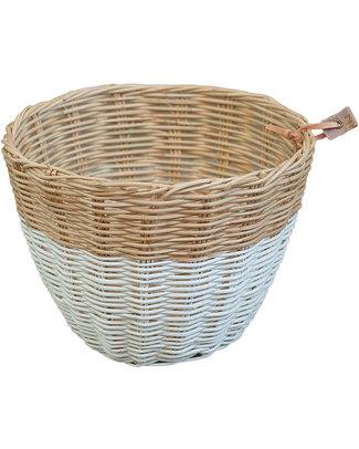 Numero 74 Rattan Storage Basket - White - Stylishly Safe Toy Storage Boxes