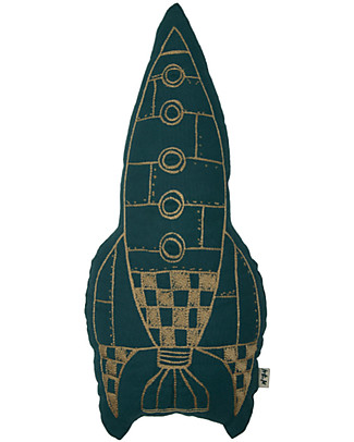 Numero 74 Rocket Cushion, Teal Blue and Gold null