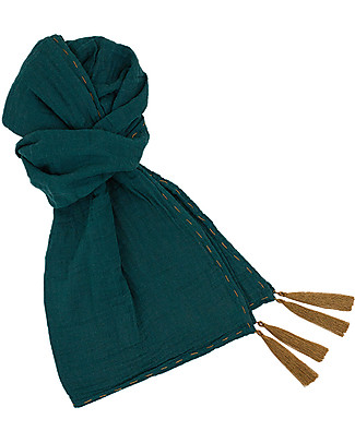 Numero 74 Scarf Kid, Teal Blue - 100% cotton double saloo Scarves And Shawls
