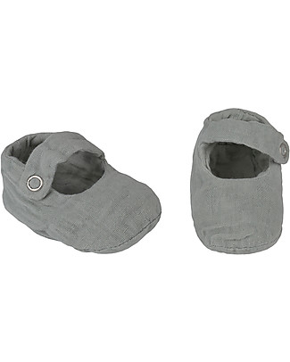 Numero 74 Sissi Baby Slippers, Silver Grey - 100% organic cotton Shoes