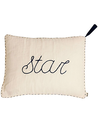 Numero 74 Star Cushion 30x40 cm - Natural with Night Blue Embroidery  Pillows