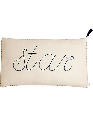 Numero 74 Star Cushion 40x70 cm - Natural with Night Blue Embroidery  Pillows
