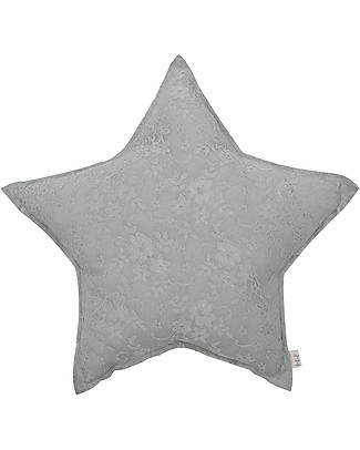 Numero 74 Star Cushion Small - Cozy Lace - Silver Grey - New Bohemian Collection Cushions