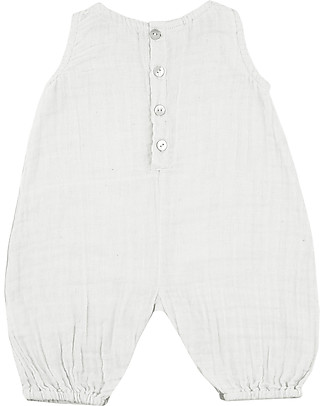 Numero 74 Stef Combi Baby One Piece, White - 100% cotton (9-12 months) Dungarees