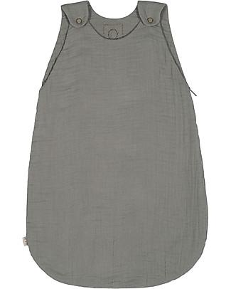 Numero 74 Summer Sleeping Bag, 6-12 months, Silver Grey – 100% Cotton, 75cm Light Sleeping Bags