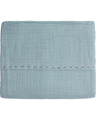 Numero 74 Top Flat Bed Sheet, Sweet Blue with Golden Embroidery – 110x170 cm - 100% cotton double saloo Bed Sheets