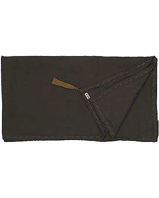 Numero 74 Towel 110 x 190 cm, Dark Grey/Gold Embroidery - 100% cotton Towels And Flannels