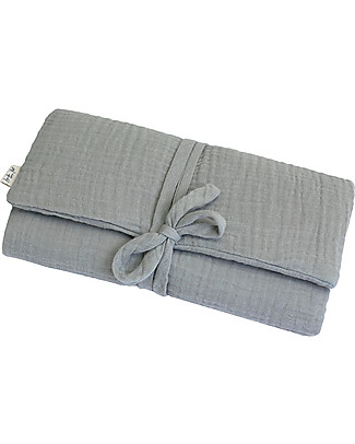 Numero 74 Travel Changing Pad - Silver Grey - Cotton Muslin Travel Changing Mats