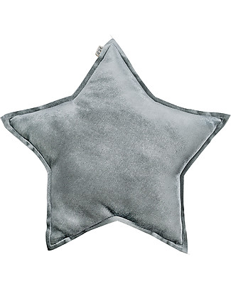 Numero 74 Velvet Star Cushion Small, Silver Grey Cushions