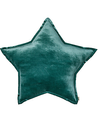 Numero 74 Velvet Star Cushion Small, Teal Blue Cushions