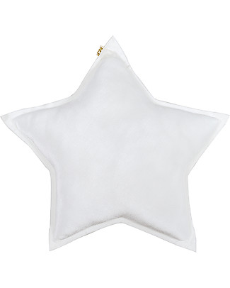 Numero 74 Velvet Star Cushion Small, White Cushions