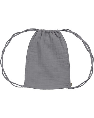 "Numero 74 Waterproof Drawstring Bag ""Nomad Gymsack"", Stone Grey - Organic cotton Small Backpacks"