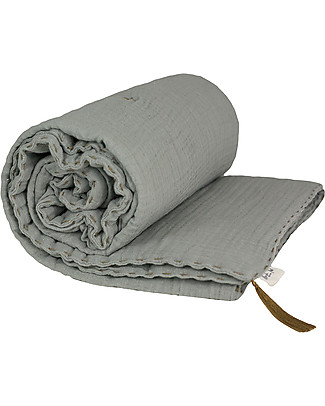 Numero 74 Winter Blanket, Silver Grey - 110 x 160 cm - Double Cotton Muslin Blankets