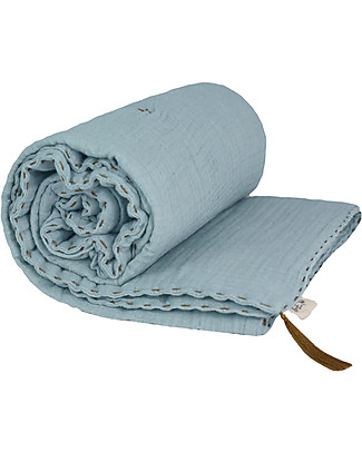 Numero 74 Winter Blanket, Sweet Blue - 110 x 160 cm - Double Cotton Muslin Blankets
