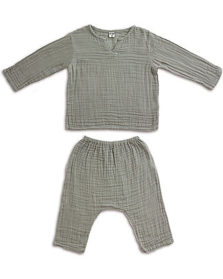 Numero 74 Zac Shirt + Pants Suit, Silver Grey - 100% cotton Special Occasion