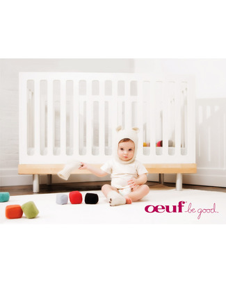 Oeuf Classic Adjustable Toddler Bed - White & Birch Cots & Cotbeds