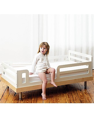 Oeuf Classic Adjustable Toddler Bed - White & Birch Single Bed