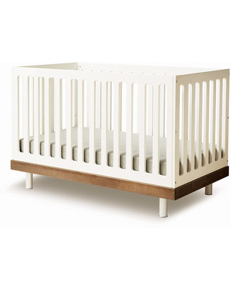 Oeuf Classic Adjustable Toddler Bed - White & Walnut Cots & Cotbeds