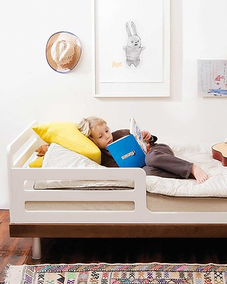 Oeuf Classic Adjustable Toddler Bed - White & Walnut Single Bed