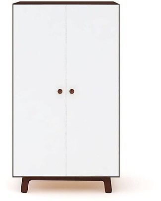 Oeuf Merlin Wardrobe with Sparrow Base - White/Walnut Dressers