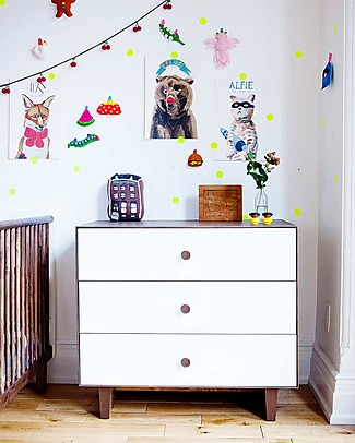 Oeuf Rhea Merlin 3 Drawer Dresser White & Walnut Dressers