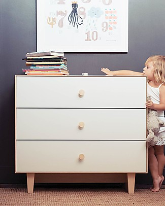 Oeuf Rhea Merlin 3 Drawer Dresser White & Birch Dressers
