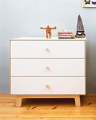 Oeuf Sparrow Merlin 3 drawer dresser in white & birch Dressers