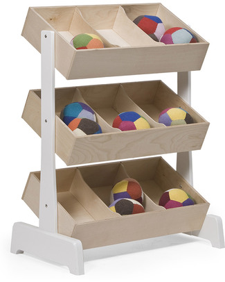 Oeuf Wooden Toy Store - White & Birch Toy Storage Boxes