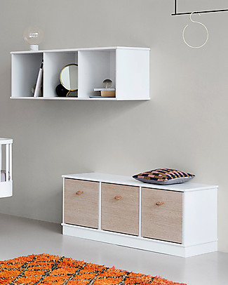 Oliver Furniture Horizontal Shelving Unit with Base 3x1, Wood range – Also ideal as a bench! Shelves