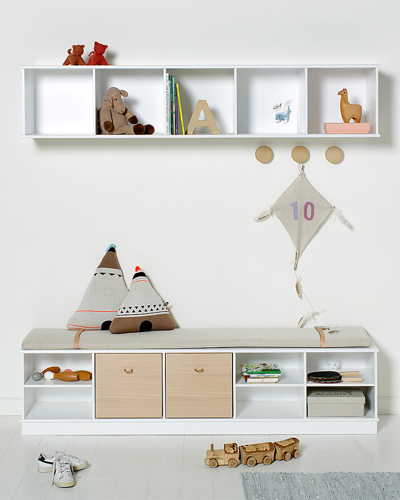 Oliver Furniture Horizontal Shelving Unit with Support 5x1, Wood range  To  hang on the