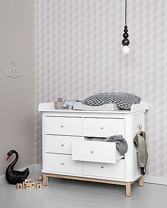 Oliver Furniture Nursery Dresser with 6 Drawers Wood Range - Removable top, also great for adults Changing Tables