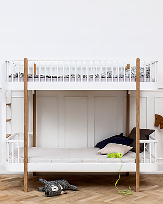 Oliver Furniture Wood Bunk Bed, Oak/End Ladder, 90x200 cm – Convertible with modular structure Bunk Beds