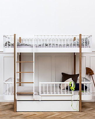 Oliver Furniture Wood Bunk Bed, Oak, Front Ladder, 90x200 cm – Convertible with modular structure Bunk Beds