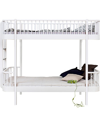 Oliver Furniture Wood Bunk Bed, White/End Ladder, 90x200 cm – Convertible with modular structure Bunk Beds
