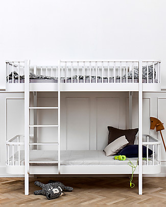 Oliver Furniture Wood Bunk Bed, White/Front Ladder, 90x200 cm – Convertible with modular structure Bunk Beds