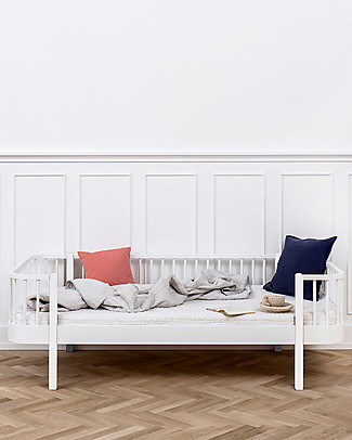 Oliver Furniture Wood Day Bed, White, 90x200 cm – Convertible with modular structure Single Bed