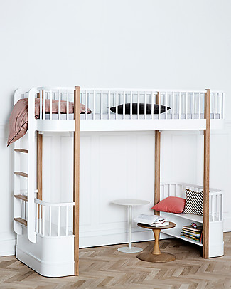 Oliver Furniture Wood Loft Bed, Oak, 90x200 cm – Convertible with modular structure Bunk Beds