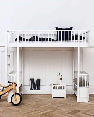 Oliver Furniture Wood Loft Bed, White, 90x200 cm – Convertible with modular structure Bunk Beds