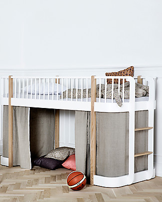 Oliver Furniture Wood Low Loft Bed, Oak, 90x200 cm – Convertible with modular structure Bunk Beds