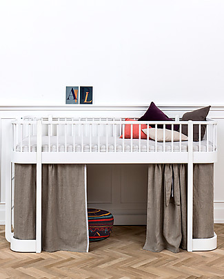 Oliver Furniture Wood Low Loft Bed, White, 90x200 cm – Convertible with modular structure Bunk Beds