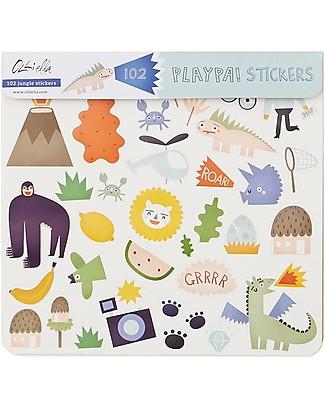 Olli Ella 120 Playpa Stickers, Jungle - Colorful and Fun! Stickers & Stamps Sets
