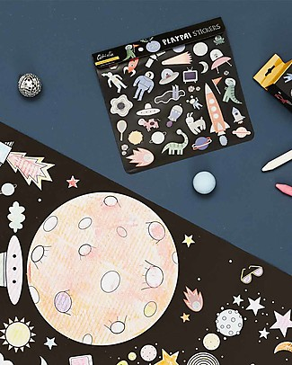 Olli Ella 120 Playpa Stickers, Space - Colorful and Fun! Stickers & Stamps Sets