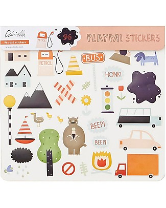 Olli Ella 96 Playpa Stickers, Road - Colorful and Fun! Stickers & Stamps Sets