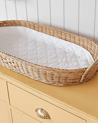 Olli Ella Bayu Baby Changing Basket with Vegan Leather Handles -71x32,4 cm - Handmade! Changing Tables