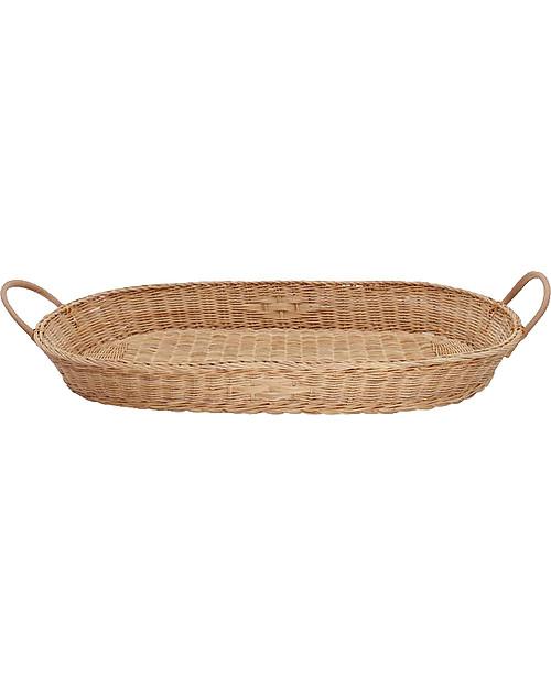 Olli Ella Bayu Baby Changing Basket with Vegan Leather Handles -71x32,4 cm - Handmade! Changing Tables