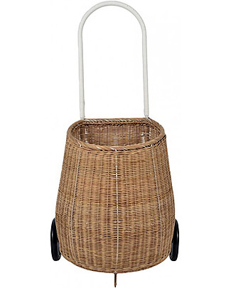 Olli Ella Big Luggy, Toy's Basket with Wheels, Natural - Fair trade, handmade! Toy Storage Boxes
