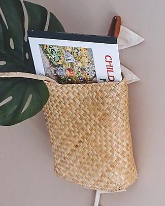 Olli Ella Hanging Book Basket 30x23 cm - Fatto a mano! Toy Storage Boxes
